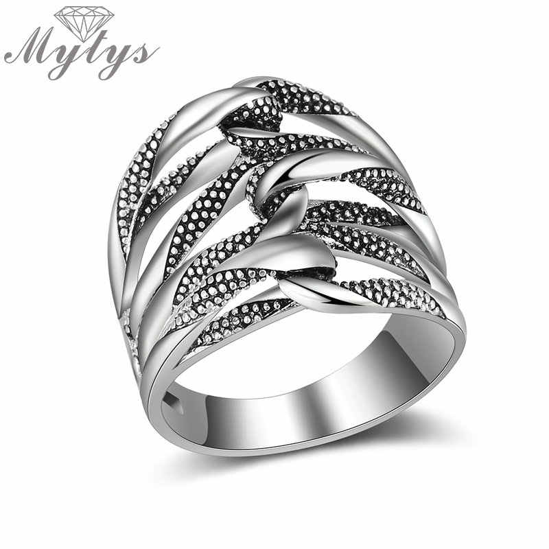 Mytys Hollow Cross Geometric Design Antique Ring for Women Fashion Party Jewelry Finger Ring Anniversary Gifts R2064