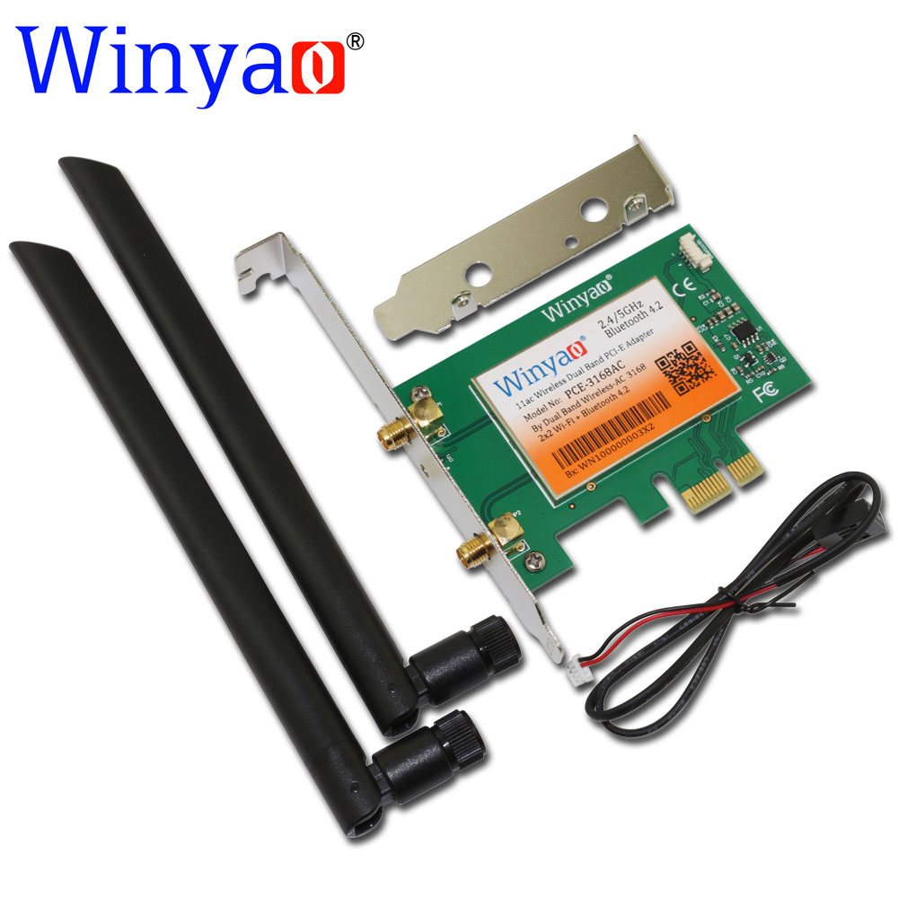 Winyao PCE-3168AC Dual Band PCI-E X1 Desktop Wireless WiFi Card 433Mbps PCI-E With Bluetooth 4.2 11ac For 3168NGW BT 4.2