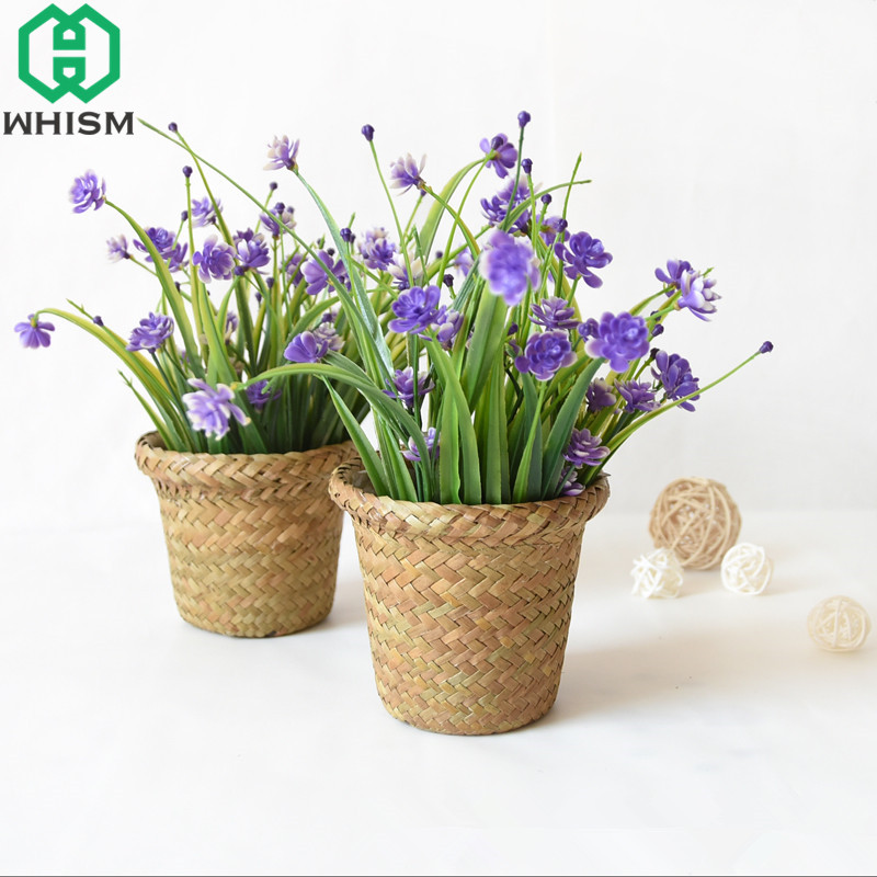 WHISM Handmade Straw Storage Basket Seagrass Flower Pot Woven Toy Container Wicker Makeup Organizer Nature Rattan Sundrie Holder in Storage Baskets from Home Garden