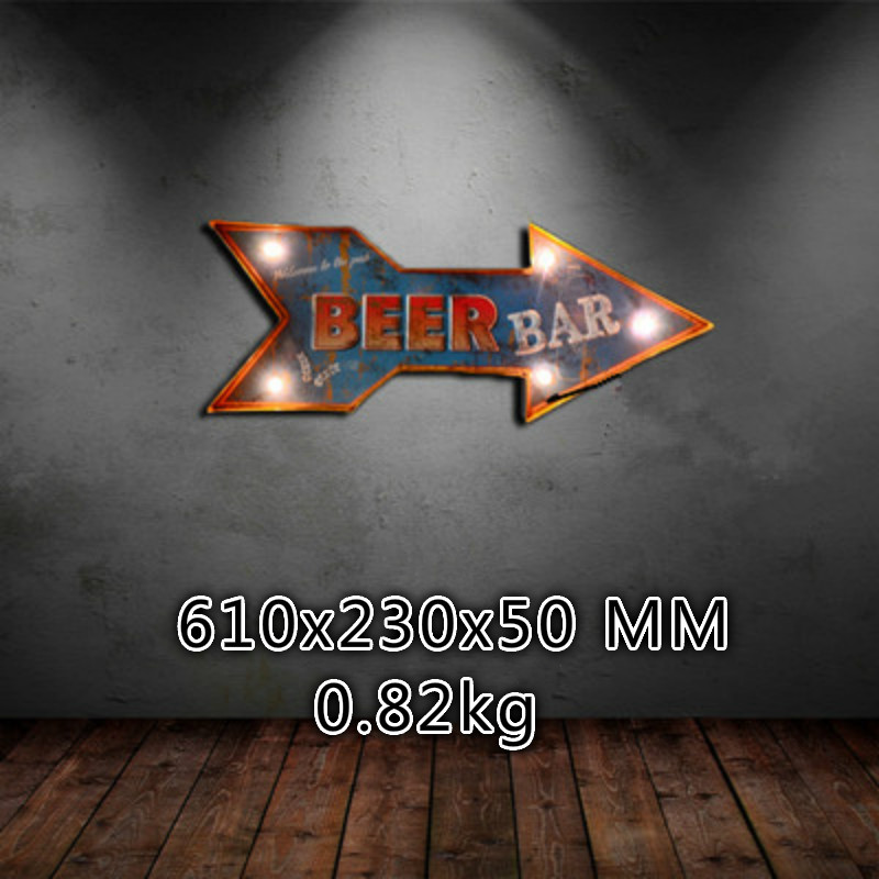 American Retro Wall Lamp Creative Arrow Signage Beer Bar Wall Decorated with LED Light Battery-Powered Night Light IY304125-34
