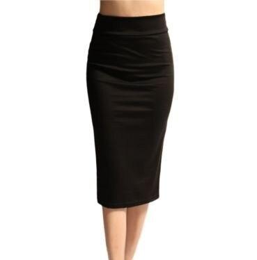 Cotton Autumn Womens Skirts High Waist Black Solid Plus Size XXS - 7XL Pencil Office Skirt 2017 Office Skirt