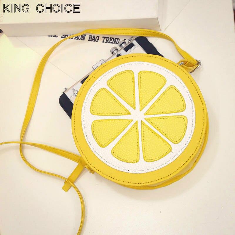 2017 Circular Orange Lemon Women Bag Zipper Messenger Bags Crossbody Waterproof Handbags Brand Designer Purse Lady Shoulder Bags