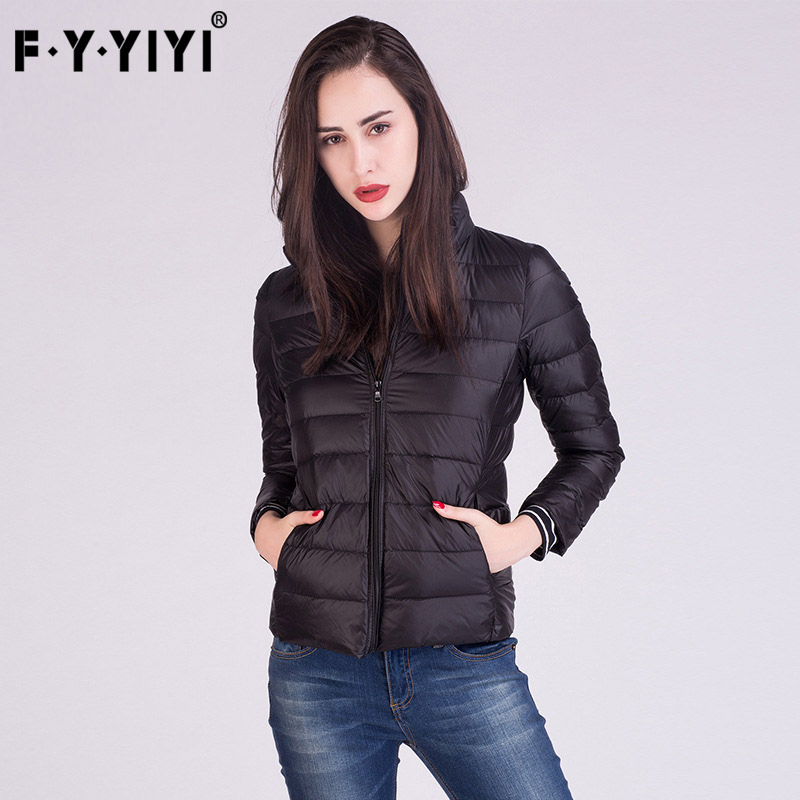 FYYIYI 2018 Spring Standing Collar Light Thin Down Jackets Womens Casual Autumn Winter Slim Warm Short Coats Large Sizes Tops