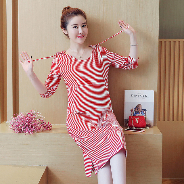 84cab1b35a00a Maternity 2018 spring summer new Korean fashion hooded striped was thin women  dresses pregnant women dresses pregnancy clothes
