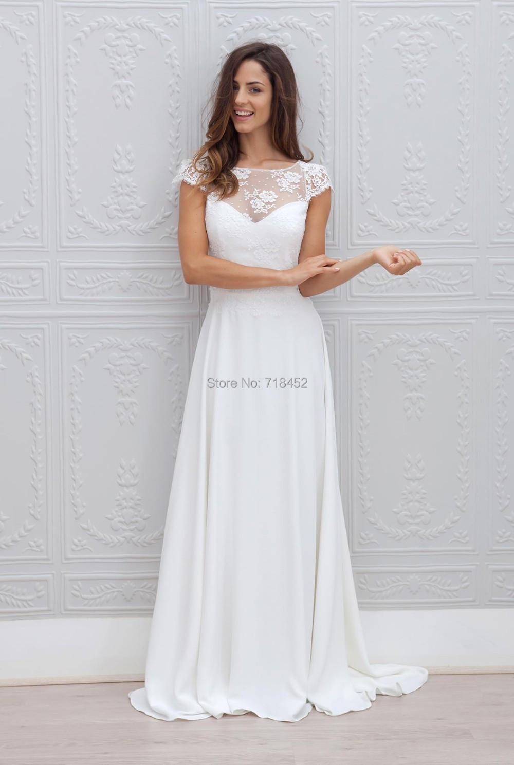 beach chiffon wedding dress real picture lace top bridal gowns short sleeve keyhole back sheer neck