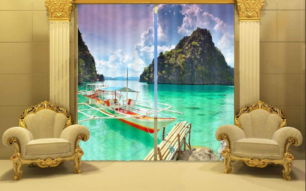 Foto Druck stereoskopische 3d Vorhänge Schöne Strand Landschaft Druck Polyester 3D Vorhang - 2