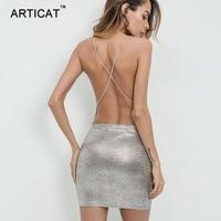 Articat Sexy Backless Party Dresses Women Spaghetti Strap Chains Cross Bandage Dress Women Vestidos Summer Short