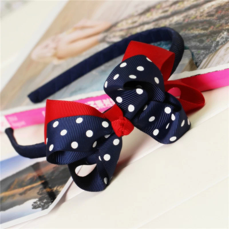korean boutique big polka dot red kids children baby girls grosgrain ribbon hair clasp bows satin headband hairband accessories boutique handmade dot kids girls hair ties elastic tiara bows satin flower hairbows headbands hairband floral accessories mt 36