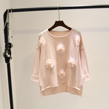 Atumn and winter sweet temperament Korean three-dimensional flower loose   long sleeved women's  sweater