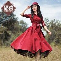 [ LYNETTE'S CHINOISERIE BOSHOW ] Original Design Spring Autumn women corduroy trench type long sleeve slim one piece dress
