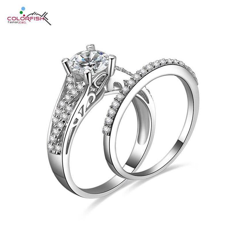 COLORFISH Brillant Rond 1 ct Engagement De Mariage double anneau Ensemble Micro Pave Zircon Femmes 925 Sterling Argent Infinity ensemble d'anneaux