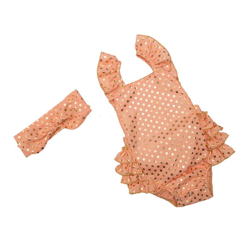 Infant Gold Polka Dot Ruffle Rompers (8)