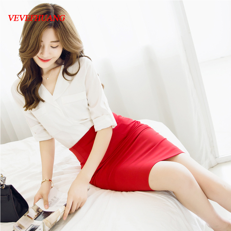 VEVEFHUANG Summer Autumn Sexy Chic Pencil Skirts Office Look Natural Waist Mid-Calf Solid Skirt Casual Slim Hip Placketing