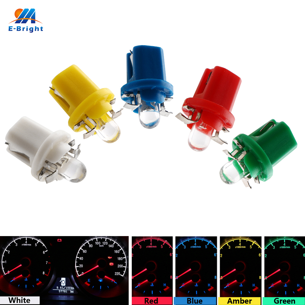 YM E-Bright 10 PCS B8.5 Convex Lens Wedge Base For Dashboards Indication Gauge Light Signal Lamps 12V DC White Amber Blue Red