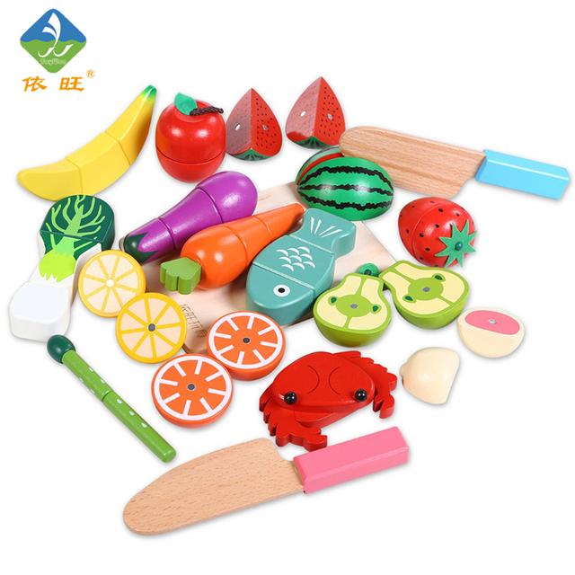 ToyWoo 17 pcs Brinquedos Inteligência da Criança Brinquedo Brinquedos De Madeira de Frutas Com Frutas Brinquedos de Cozinha Do Bebê Set Garoto Fingir 2016