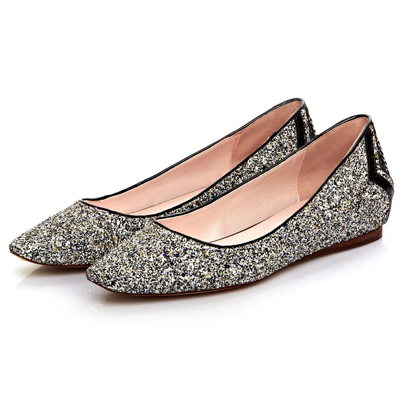New Arrival Korean Fashion Woman Casual Shoes Silver Paillette Pointed Toe  Flats Shoes Ladies Glitter Flats Ballet Shoes-in Women s Flats from Shoes on  ... 70c3fc549349