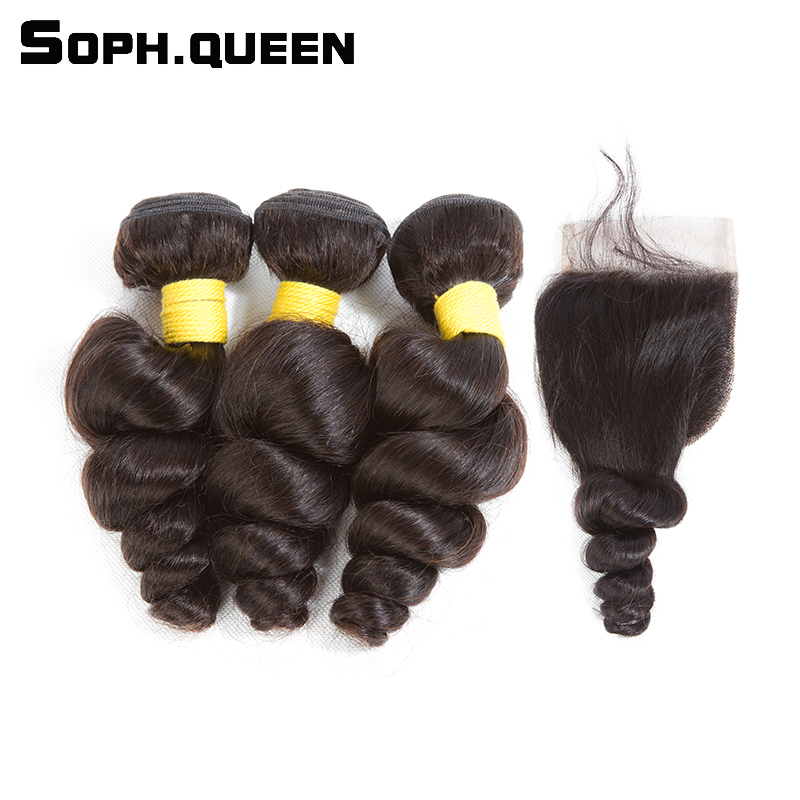 Sophqueen Malaysian Remy Hair Loose Wave Bundles With 44 Closure