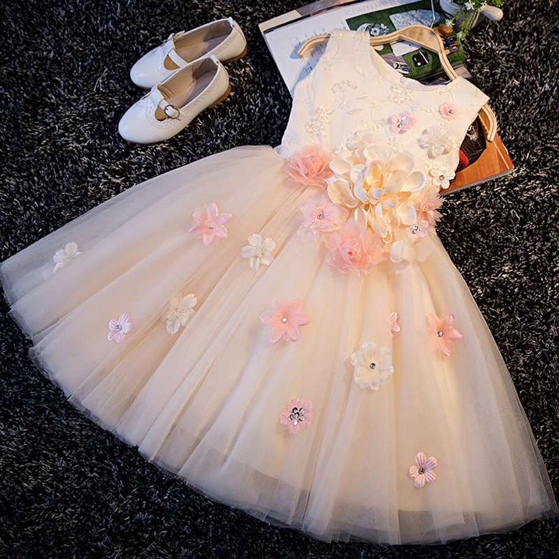 2017 Sweet A-Line Lace Up Embroidery Appliques Princess Kids Dress For Girls Elegant Prom Party Wedding Flower Girls Dress P76 elegant beaded a line appliques court train evening dress