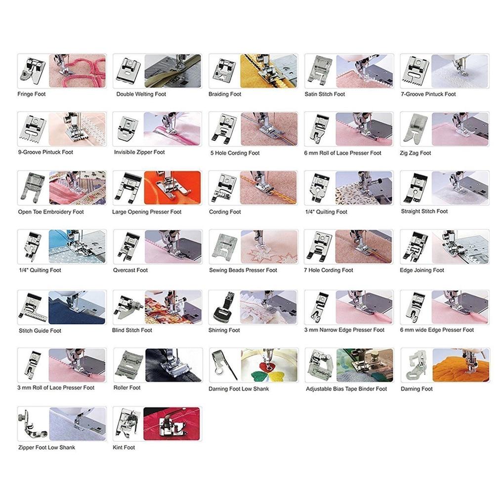Hot 52 pcs multifonctionnel pieds de biche pièces ensemble bord joint roulé ourlet Curling pied de biche couture Machine accessoires Kit
