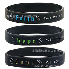 Printed Letters hope faith love bible Silicone Sports Bracelets & Bangles Women Fluorescent Rubber Fitness Wristband Bracelet