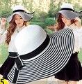"""Классический """"Хепберн"""" Стили 2015 Summer Beach Sun Hat Большой Брим Floppy Соломы Пляж Крышка Лук 1 шт. Розничная"""