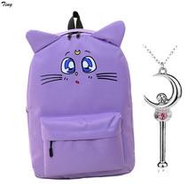 2016 korean canvas cat ear sailor moon backpack for teenagers girls boys orthopedic bag to rucksack