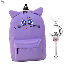 2016 korean canvas cat ear sailor moon backpack for teenagers girls boys orthopedic bag to rucksack school bag lady rucksack