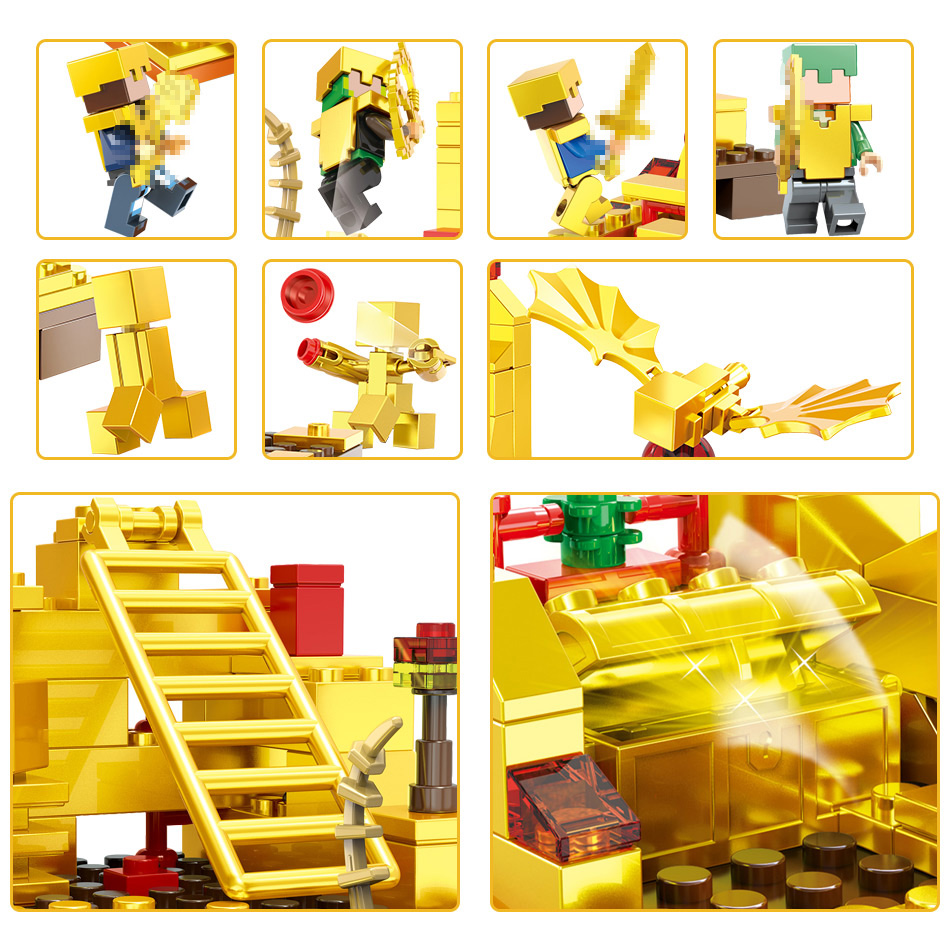MY World Technic Golden Dragon Building Blocks Compatible LegoINGLYS Minecrafter Golden World Eductional Kit Children Toy 293PCS 4