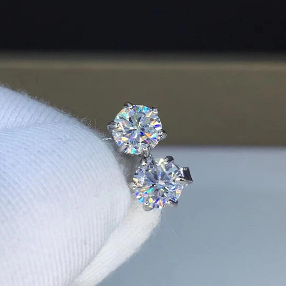 Poetry Of Jew Store Round Moissanite Cut Total 1.00ct Diamond Test Passed Moissanite Silver Earring Jewelry Girlfriend Gift