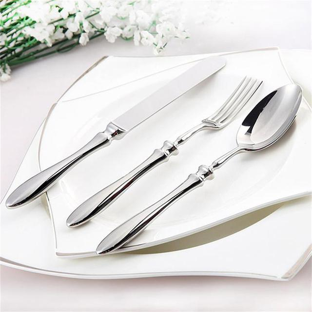 Cutlery Steel Set Classic Flatware Set Silver Quality Luxury Table Knife Fork Spoon Dining Set Dinner Sets Western Wedding Food