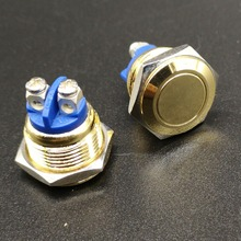 16mm Golden screw terminal electric metal car switch Metal Momentary 1NO Industrial Car Switch