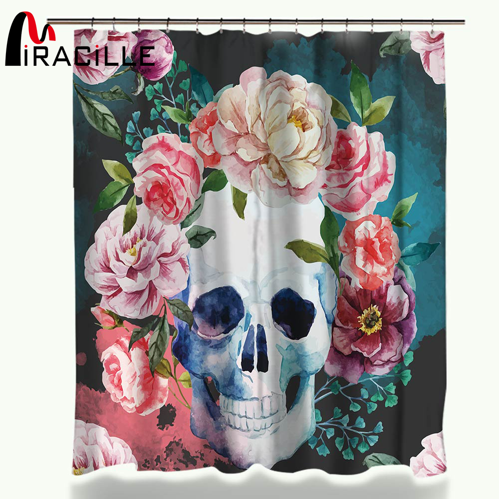 Miracille Flower Sugar Skull Cortina de ducha de poliéster Tela impermeable Cortinas de ducha para baño 150x180cm / 180x180cm