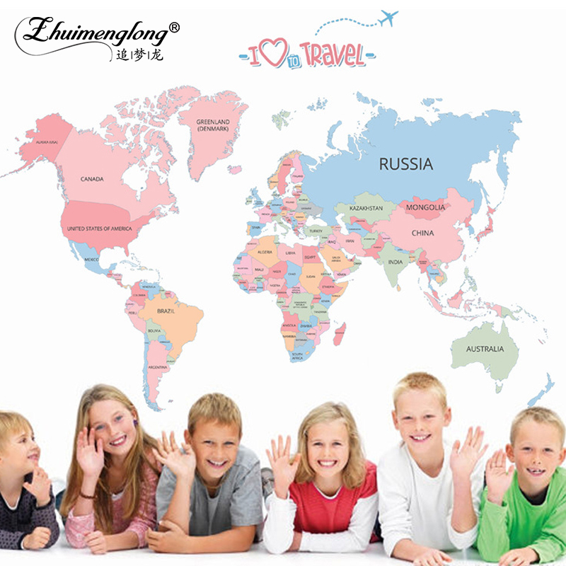 Zhuimenglong Diy World Map Wall Sticker Vinyl Plane Wall Stickers For Kids Rooms Home Decorative Bathroom Sofa Wall Decals