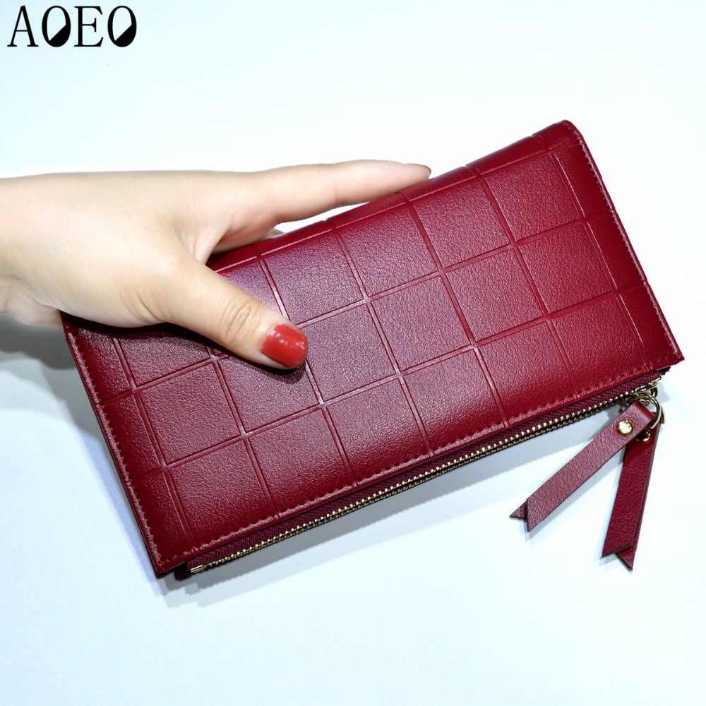 Bolsa de couro feminina xadrez carteiras longas senhoras colorido walet vermelho embreagem 10 titular do cartão bolsa de moedas feminino duplo zíper carteira menina
