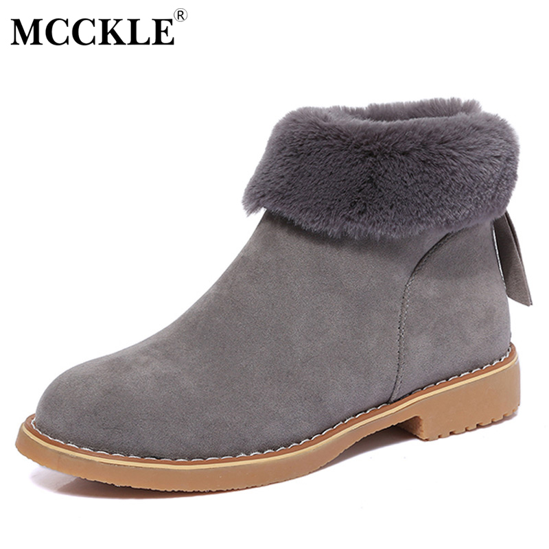MCCKLE 2017 Ladies Winter Zip Ankle Snow Boots Female Fashion Warm Plush Fur Platform Black High Quality Suede Thick Heel Shoes