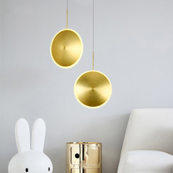 Nordic simple golden UFO Pendant Light creative clothing store coffee shop living room restaurant decoration lamp free shipping