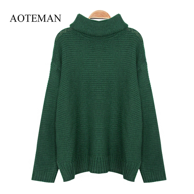 AOTEMAN Spring Winter Sweater Women Fashion Casual Solid Turtleneck Sweater Vintage Loose Long Sleeve Knitted Pullover Sweaters