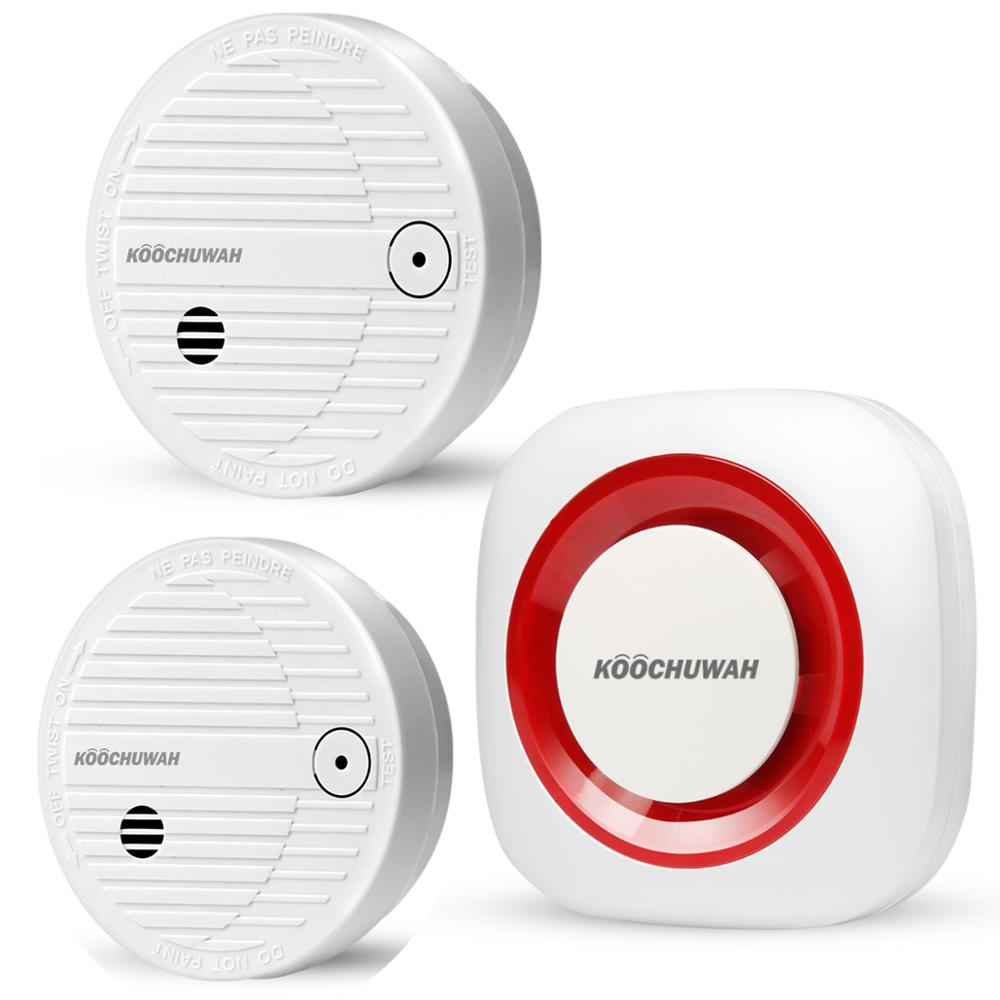 KOOCHUWAH SMS GSM Smoke Detector Wireless Home Smokhouse Security Portable Fire Alarm Smoke Sensor Automatic Dialing For Help