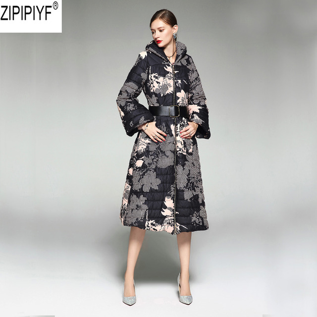 Winter New Fashion High Quality Personality Slim Vintage Print Women Down Jacket Flare Sleeve Stand Collar Long Parka Coat C3065