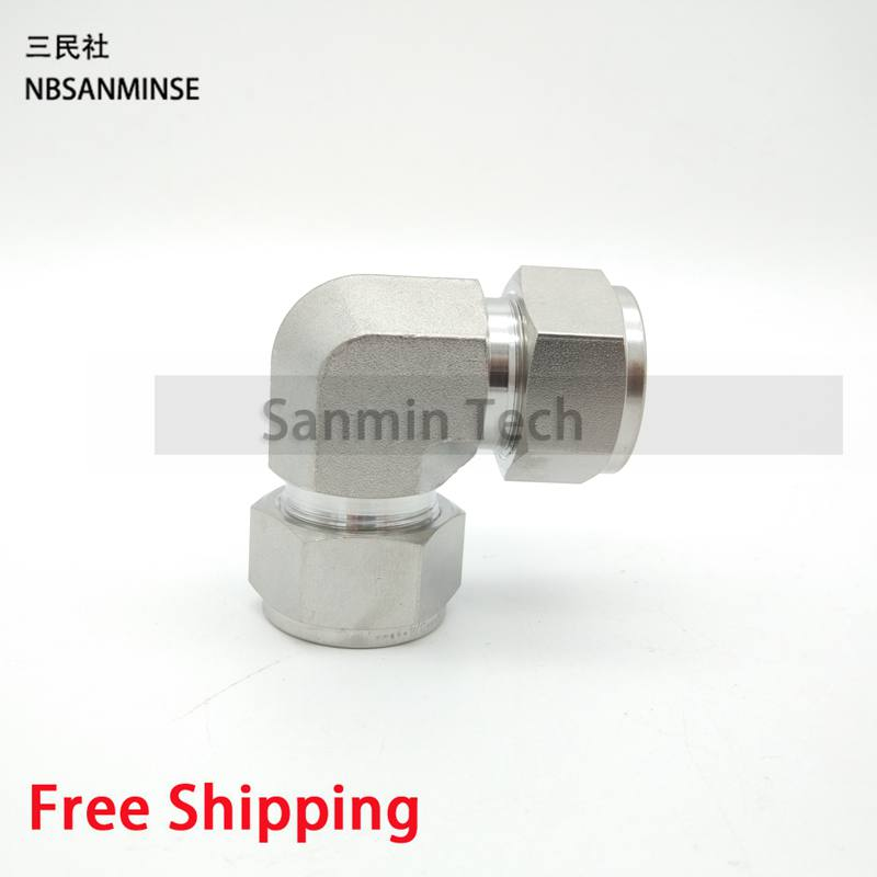 5Pcs/Lot UE Connector Coupling Union Elbow Stainless Steel SS316L Plumbing Fitting Pneumatic Air Fitting High Quality Sanmin