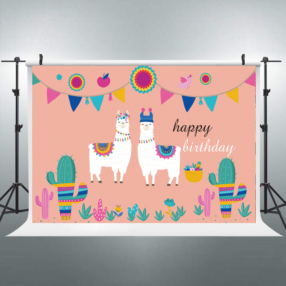 Mexican Fiesta Backdrop Birthday Party Photo Background Pink Backdrop Cactus Alpaca Baby Shower Newborn Decor Supplies W-1917 image