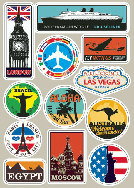 famous scenic spot vintage sticker on luggage suitcase. Black Bedroom Furniture Sets. Home Design Ideas