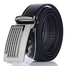 2019 Brand Mens Belt Cow Leather Belts Fashion Automatic Buckle Black for Men Strap Male leather belt 110cm
