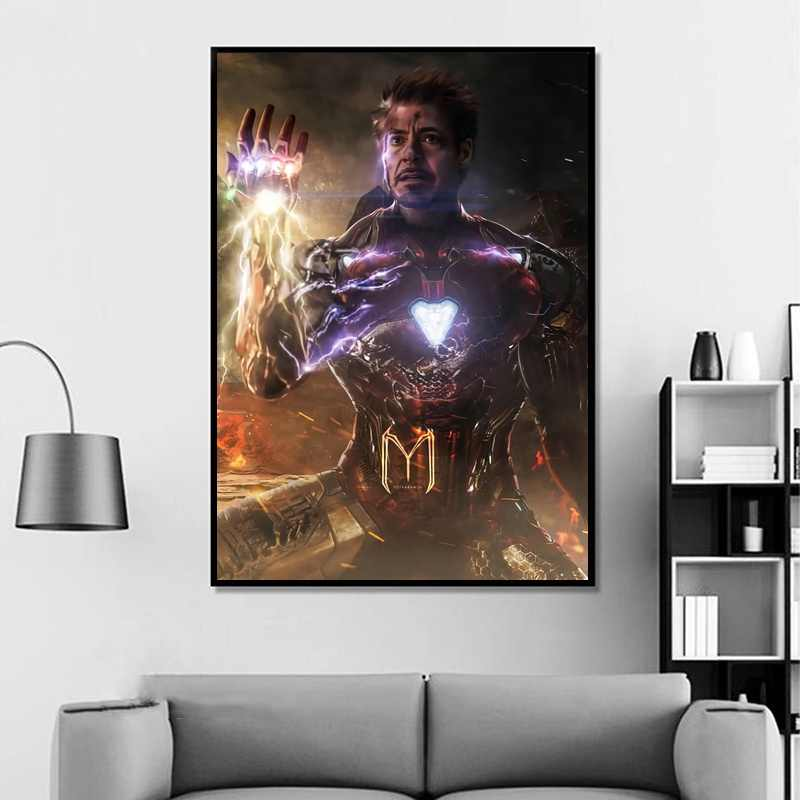 Avengers Endgame Iron Man Infinity Gauntlet Movie Poster Home Decor Wall Decor Wall Art Cnavas Print No Frame