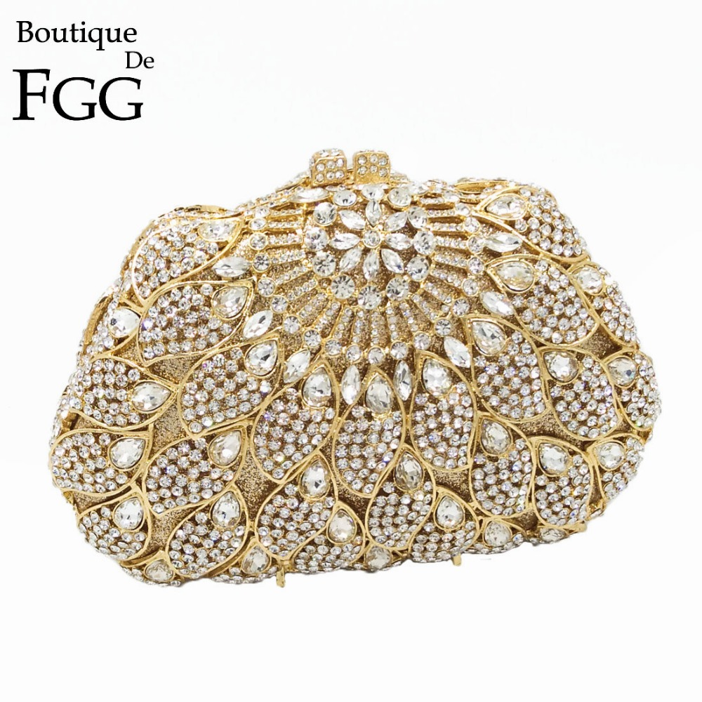 Dazzling Women Hollow Out Crystal Clutches Handbags Gold Diamonds Rhinestones Evening Clutch Bag Cocktail Dinner Shoulder Bags gold plating floral flower hollow out dazzling crystal women bag luxury brand clutches diamonds wedding evening clutch purse