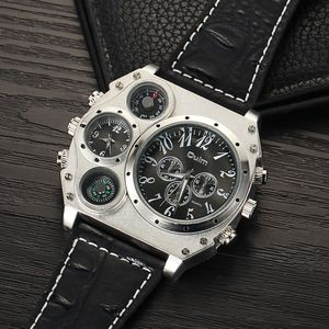 Image 2 - Oulm ビッグダイヤル高級メンズスポーツ腕時計男性クォーツ時計 Pu レザーストラップ腕時計 relogios masculino esportivo