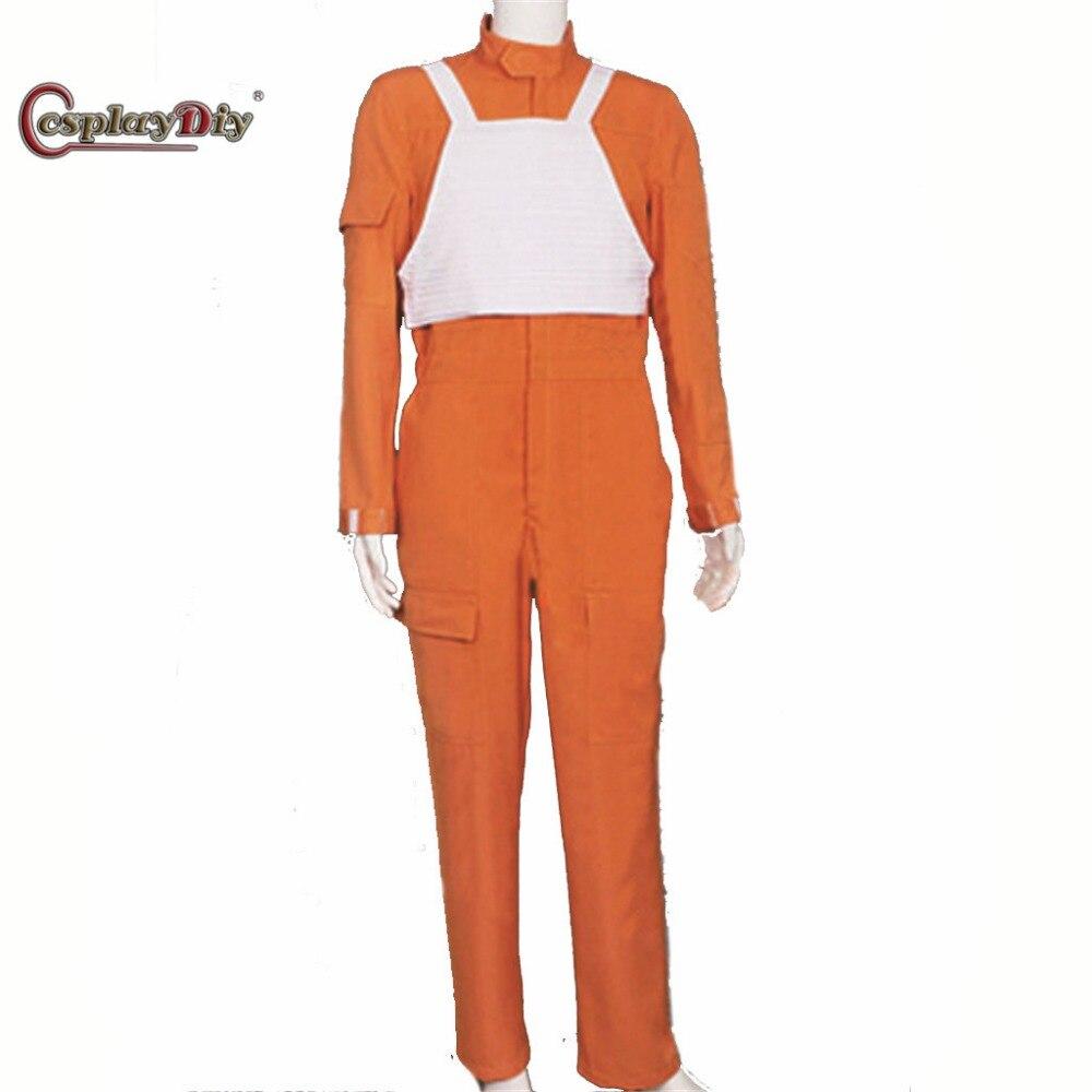 Cosplaydiy Star Wars Costume x-wing pilote uniforme Orange combinaison gilet Halloween carnaval Cosplay Costume sur mesure J10