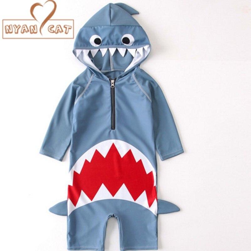 Nyan Cat 2018 summer baby boys girls hooded swimwear shark swimming suit infant toddler kids chidren Surfer Clothing