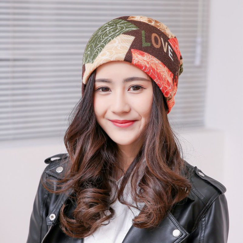 LNRRABC Winter Skullies & Beanies Print Multifunctional Three-Purpose Letters Flag Women Female Hats Clothing Accessories 2pc skullies
