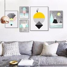 Cuadros en lienzo geométrico abstracto, carteles nórdicos, estampados con textura, arte de pared Vintage A4, cuadros para la decoración del hogar de la sala de estar
